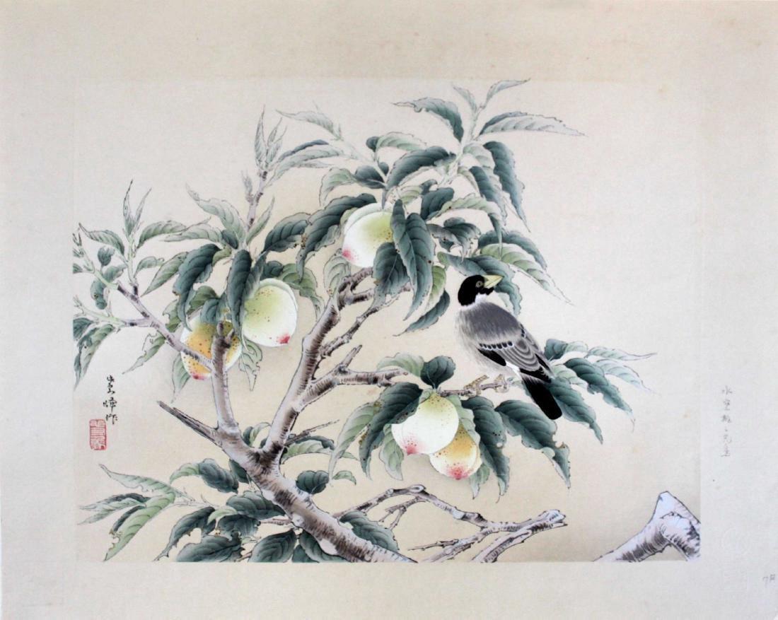 Shiho Sakakibara Peaches Japanese Woodblock Print