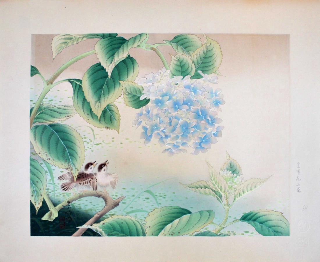 Shiho Sakakibara Sparrows Japanese Woodblock Print