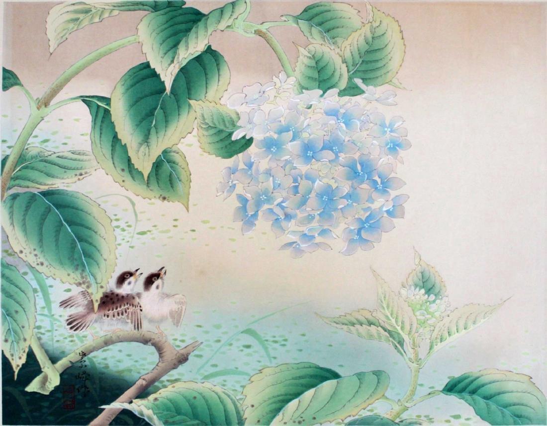 Shiho Sakakibara Sparrows Japanese Woodblock Print - 2