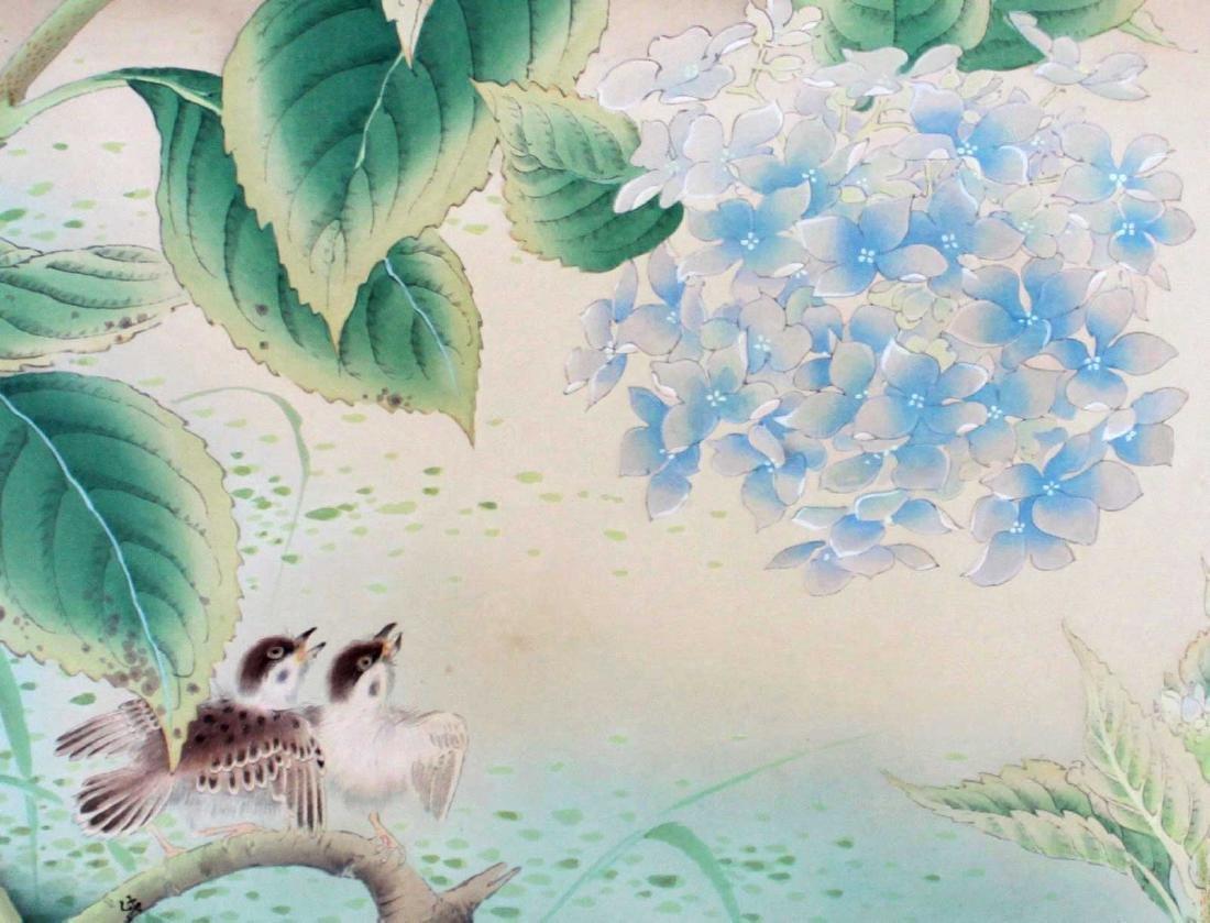 Shiho Sakakibara Sparrows Japanese Woodblock Print - 3