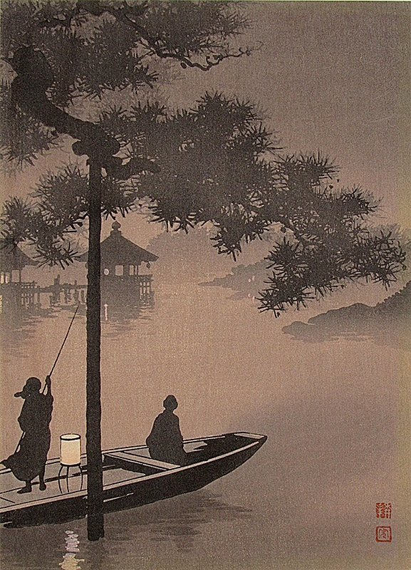 Shoda Koho Boat at Night Japanese Woodblock Print