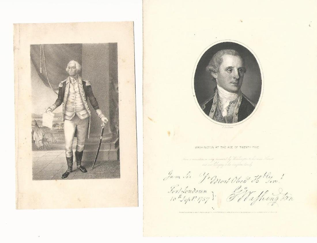 Two 19th C Engravings George Washington