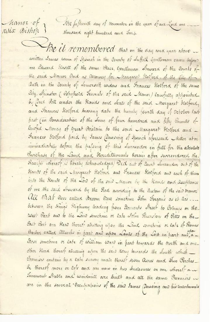 1810 Manuscript English Manor Absolute Surrender