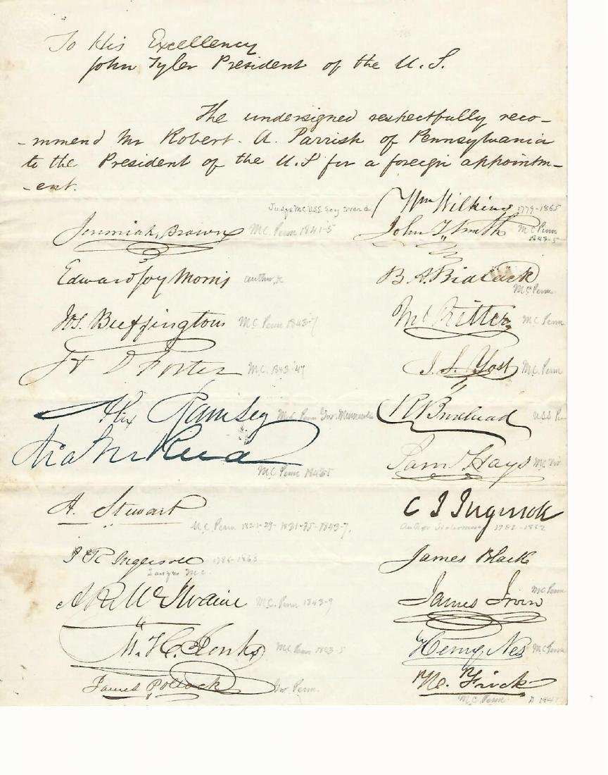 1844 Petition to Pres. John T Docket Signatures Congr.