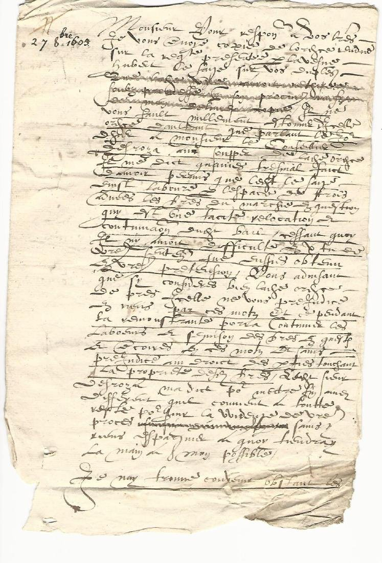 1605 French Manuscript Legal Document