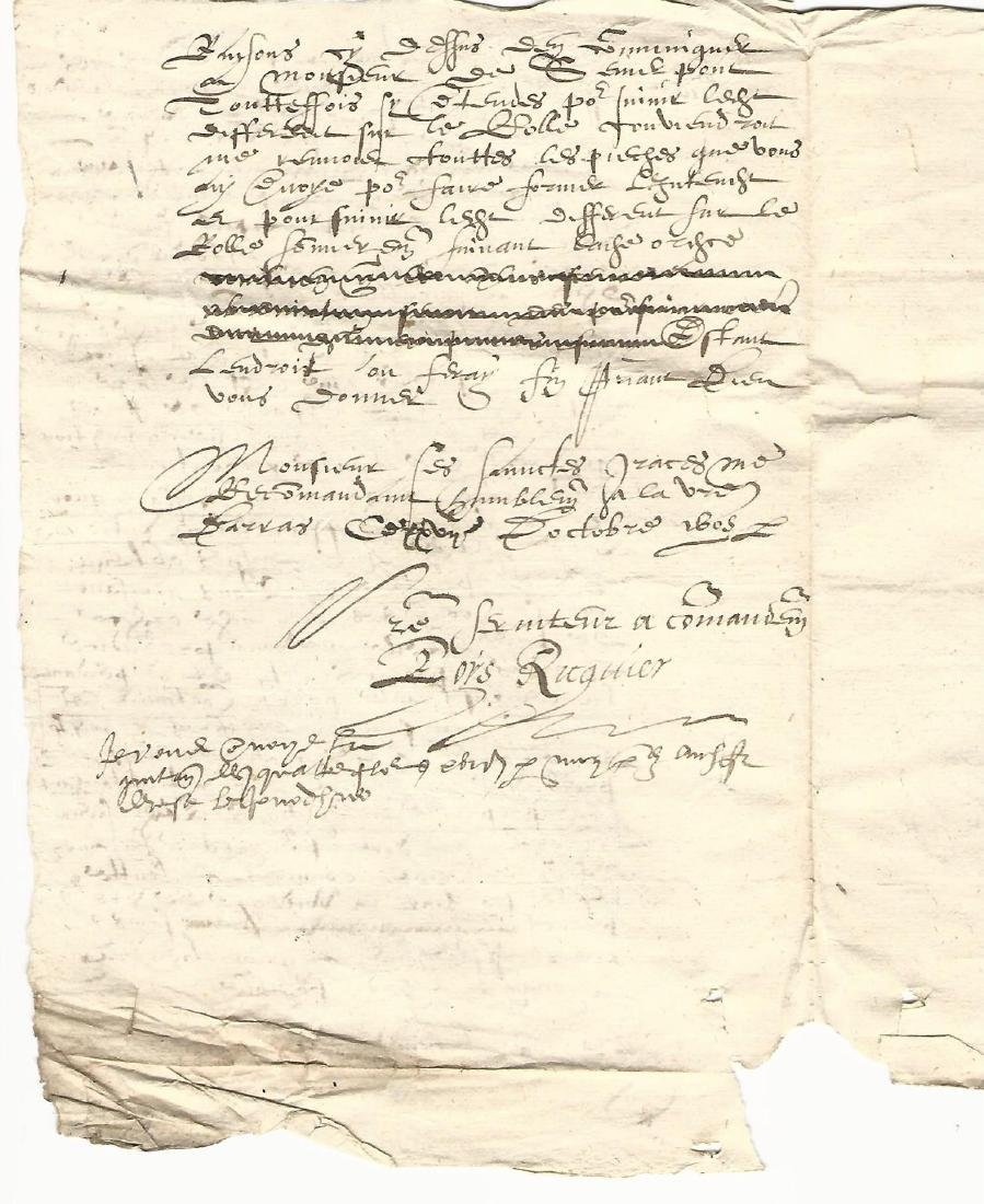 1605 French Manuscript Legal Document - 2