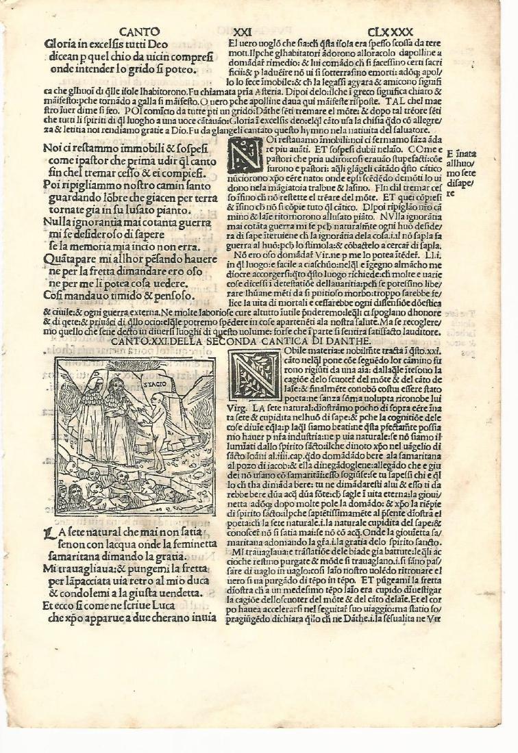 1507 Woodcut Leaf Dante Purgatorio