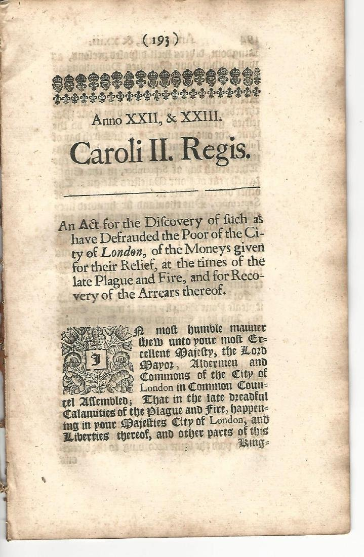 1673 English Acts PlagueFire Workhouses
