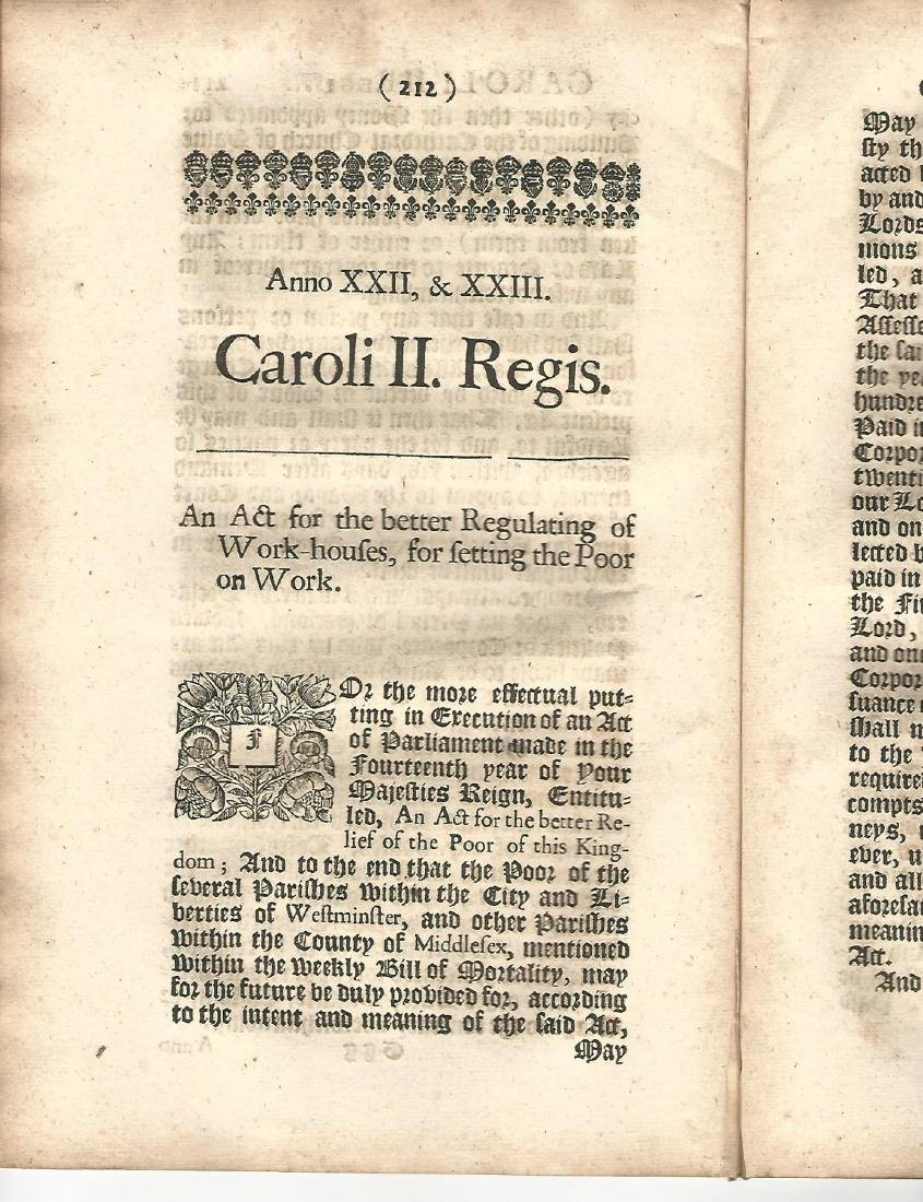 1673 English Acts PlagueFire Workhouses - 2