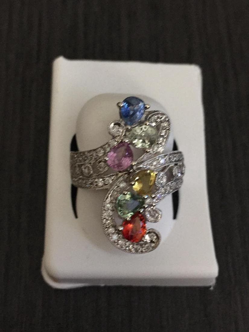 14K White Gold Multi Color Sapphire Diamond Ring, 3ctw