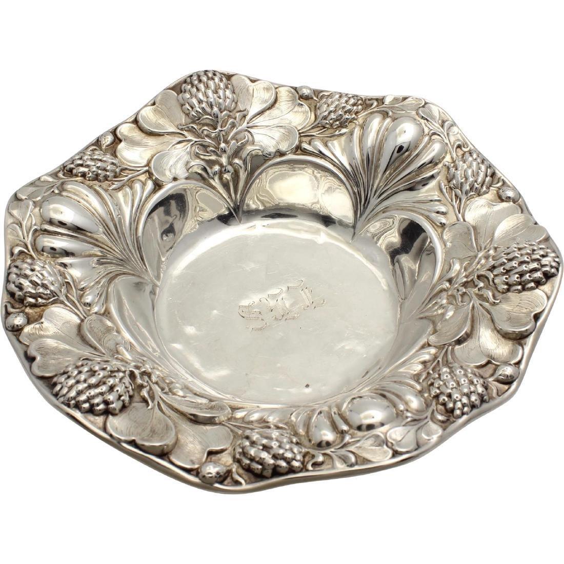 Antique Art Nouveau Sterling Dish with Thistle Flower Design