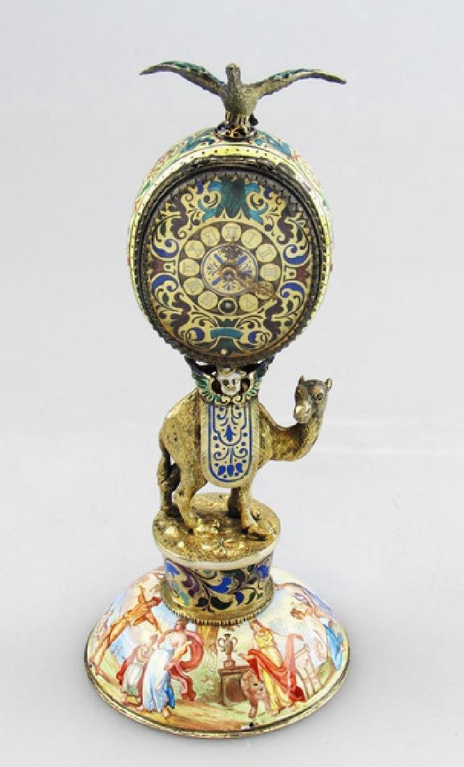 Antique Viennese Enamel & Solid Silver Clock, 1875