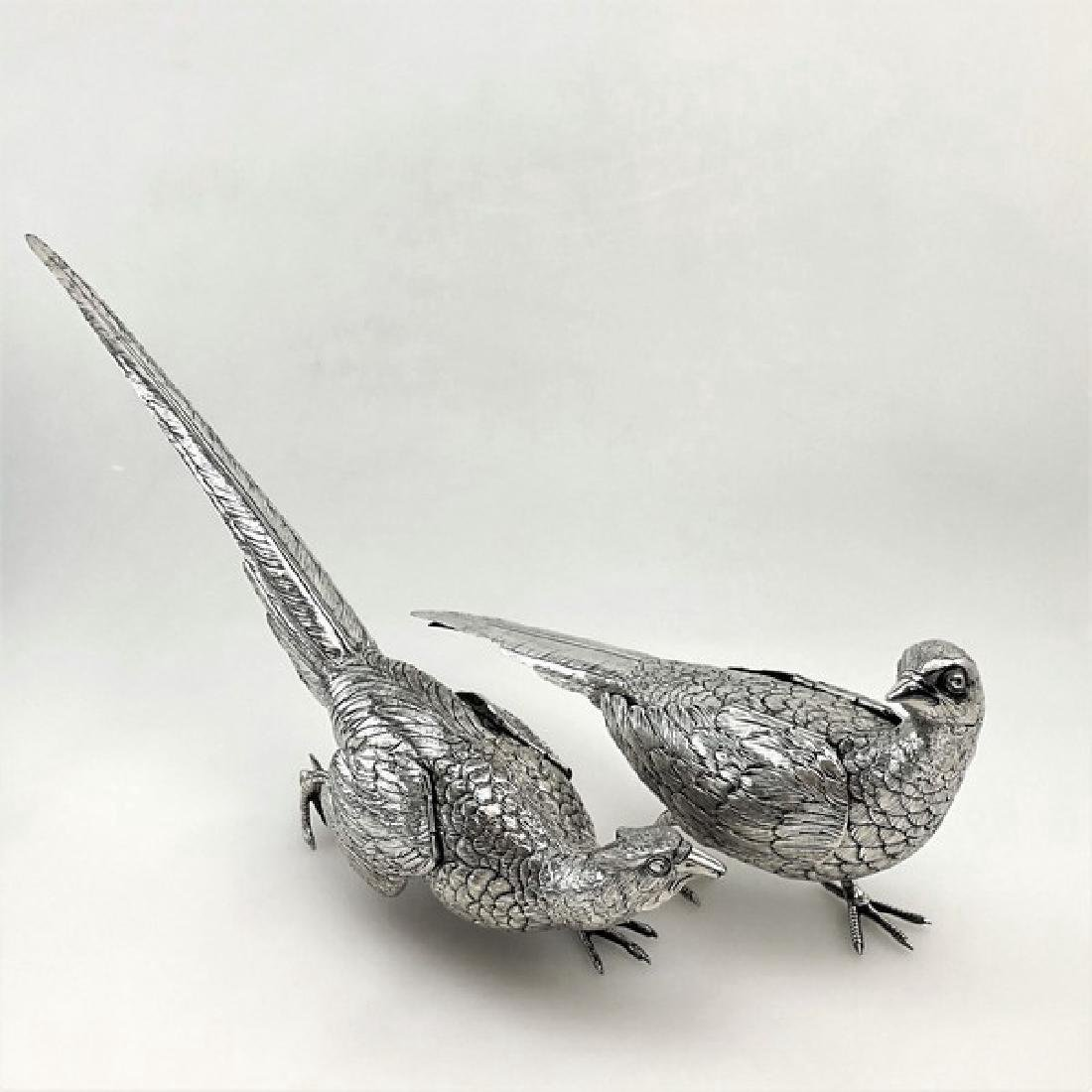 Antique German 800 Silver Pheasants Figure Statue, 1890