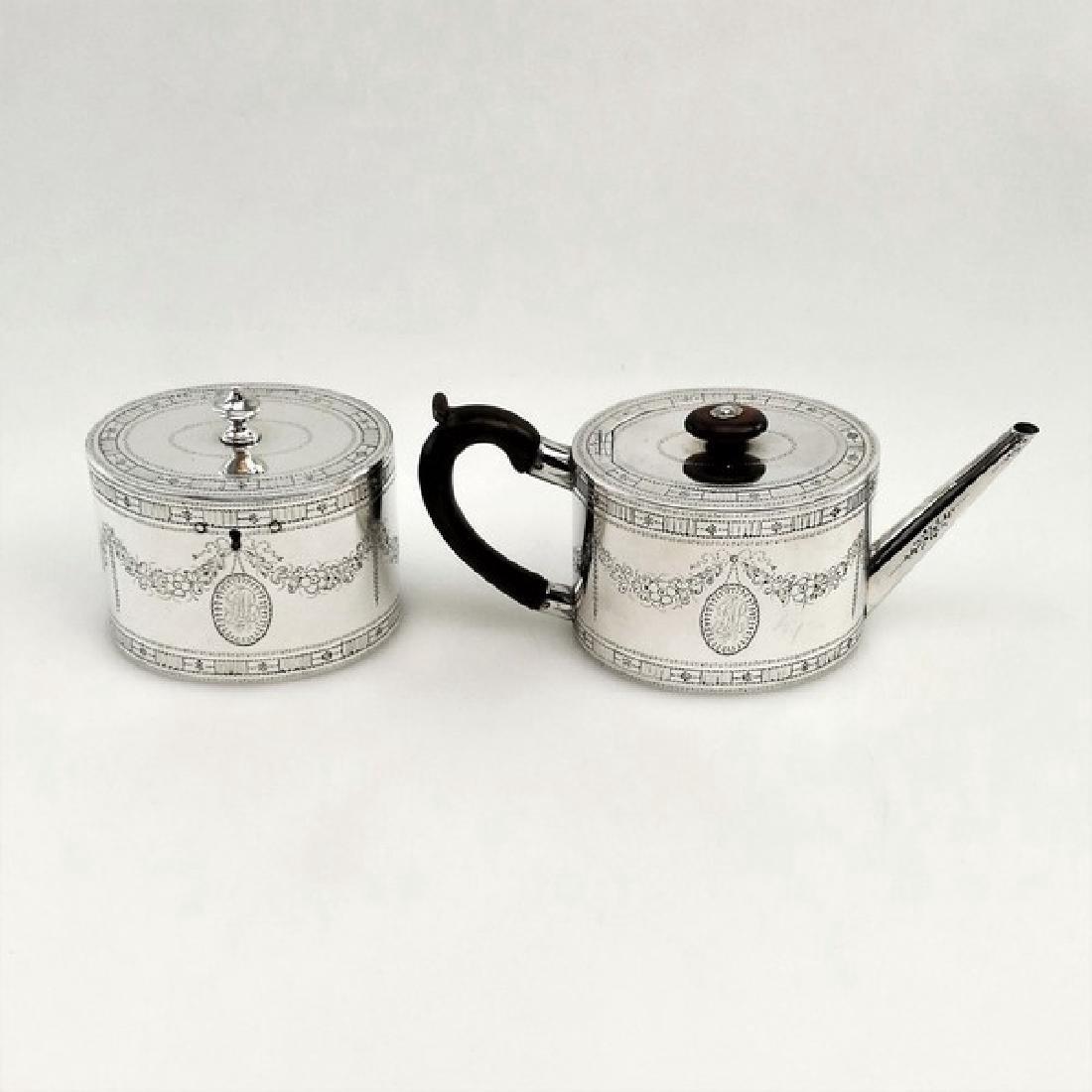 Georgian John Denziloe Sterling Silver Teapot & Caddy