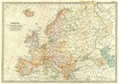 Antique Britannica Map of Europe, 1903