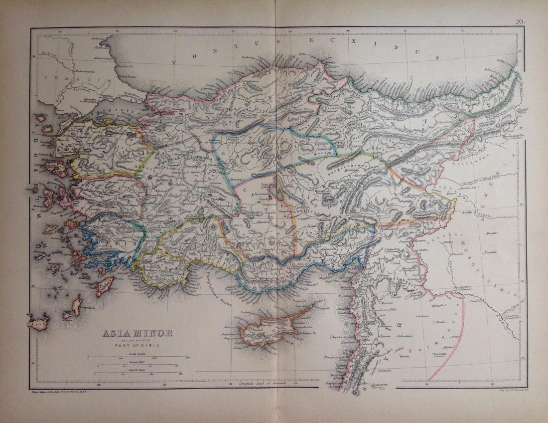 Map Of Asia Minor.Hughes Antique Map Of Asia Minor Syria 1856