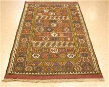Antique Detailed Caucasian Soumak Kilim Rug