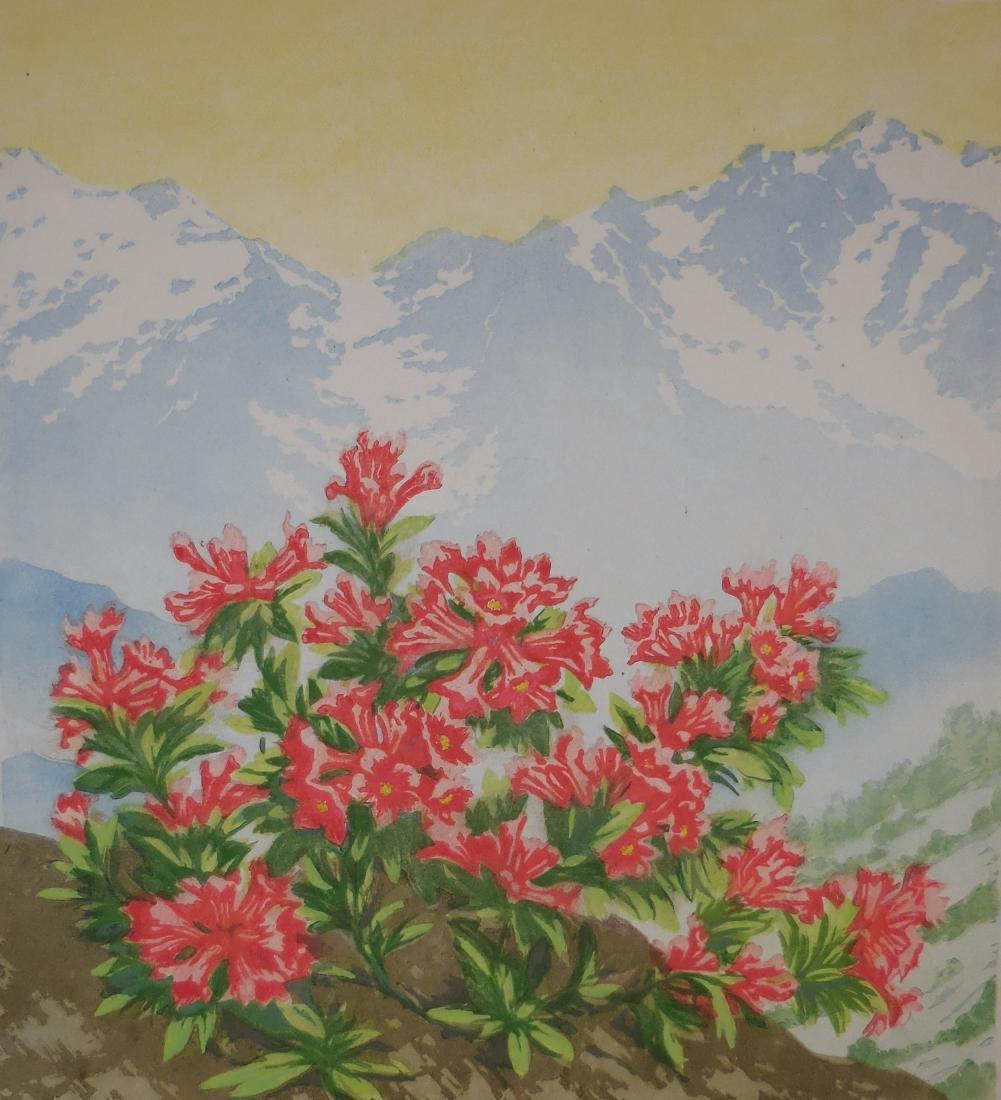 Viktor Pirkhoff: Mountain Flowers Woodcut