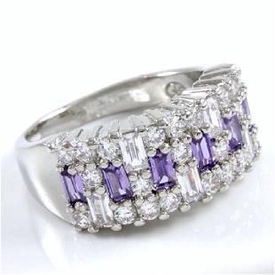14K White Gold Filled Amethyst White Sapphire Ring