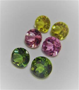Lot of 6 Loose Stone Multicolor Tourmalines 540 ct