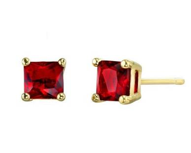 18K Gold Plated Semi Precious Red Ruby Earrings