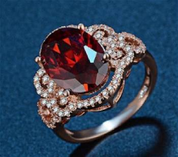 Rose Gold Filled Garnet Cubic Zirconia Ring 6ct