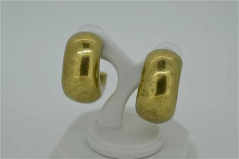 Ladies Giles Brother Brass Color Chunky Earrings