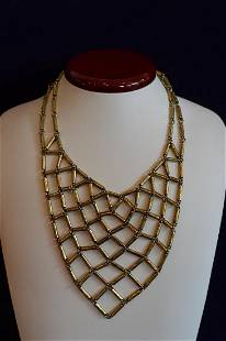 Ladies Giles Brother Brass Colored Bib Necklace
