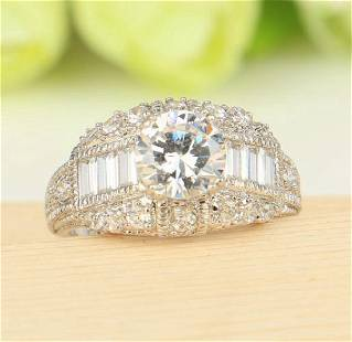 White Gold Filled Cubic Zirconia Round Engagement Ring