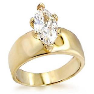 Yellow Gold Plated Cubic Zirconia Solitaire Ring 409ct