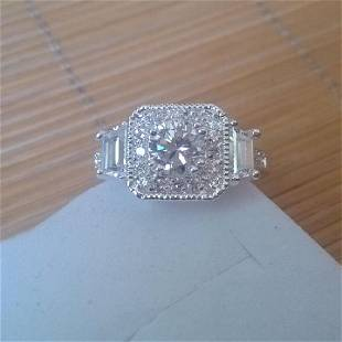 White Gold Filled Cubic Zirconia Square Engagement Ring