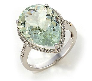 White Gold Plated Celedon & White Cubic Zirconia Ring