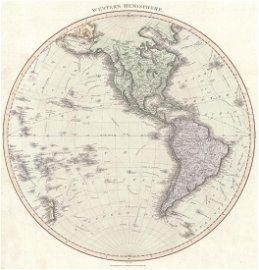 Thompson: Antique Map of Western Hemisphere, 1815
