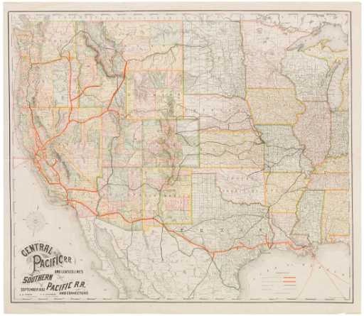 Rand McNally: Antique Map of Central & Pacific Railroad on