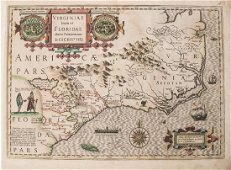 Hondius: Antique Map of Virginia & the Carolinas, 1606