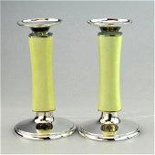 Meister Modernist Sterling Silver Enamel Candlesticks