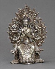 Nepalese Solid Silver Maitriya Buddha Statue