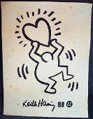Keith Haring Dancing Man With Heart Drawing Signed