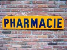 c. 1940's French Pharmacie Sign - Porcelain Enamel