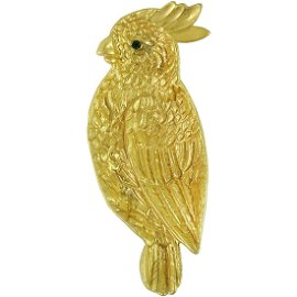 Golden Parrot with Green Jewel Eye Vide Poche Ring Dish