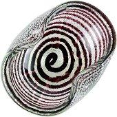 Murano Silver Flecks Purple Swirl Italian Art Glass