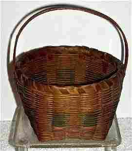 Antique Signed Miniature Splint Basket 19001920