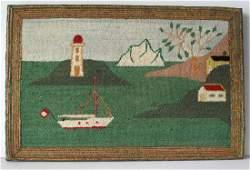 Vintage Nautical Hooked Rug 1940's