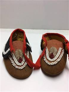 Northeastern Indian Child Beaded Hide Moccasins