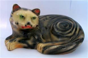 Vintage Whimsical Folk Art Chalk Cat 1930