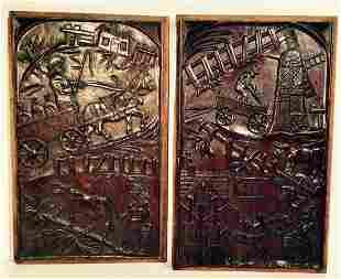 2 Finely Carved Folk Art Panels