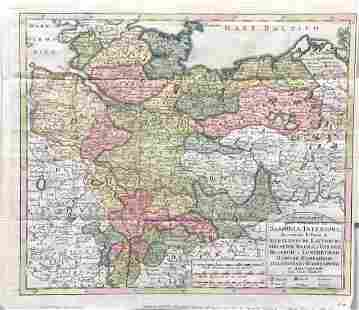 Isaac Tirion Antique Map of Northern Germany 1740