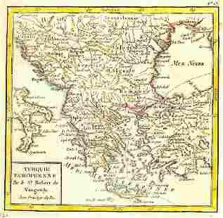 Vaugoundy Antique Map of European Turkey 1750