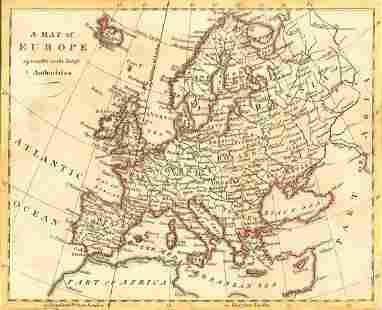 Russell Antique Map of Europe 1794