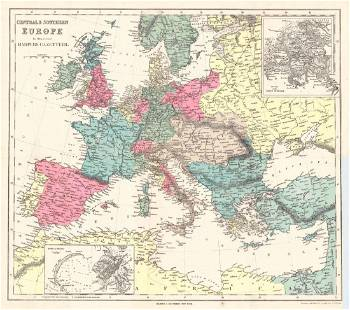 Mclellan Antique Map of Central Southern Europe 1855